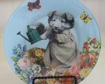 Gardening Pup Decoupaged Plate