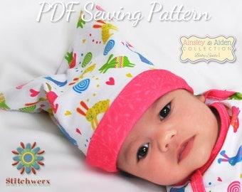 BABY HAT Sewing PATTERN, Baby Beanie Pattern, Baby Hat Pattern, Pdf Sewing Pattern, Baby Sewing Patterns, Sizes Preemie-12M