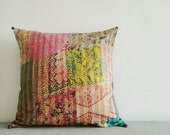 Vintage Kantha Cushion Cover , Decorative Pillow , Accent Pillow , Kantha Pillow , Vintage Kantha Pillow