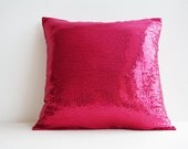 Shiny Hot Pink Sequin Pillow Cover , Pink Holiday Decor , Throw Pillow , Pink Decorative Pillow , Glitter Pillow , Sparkle Pillow