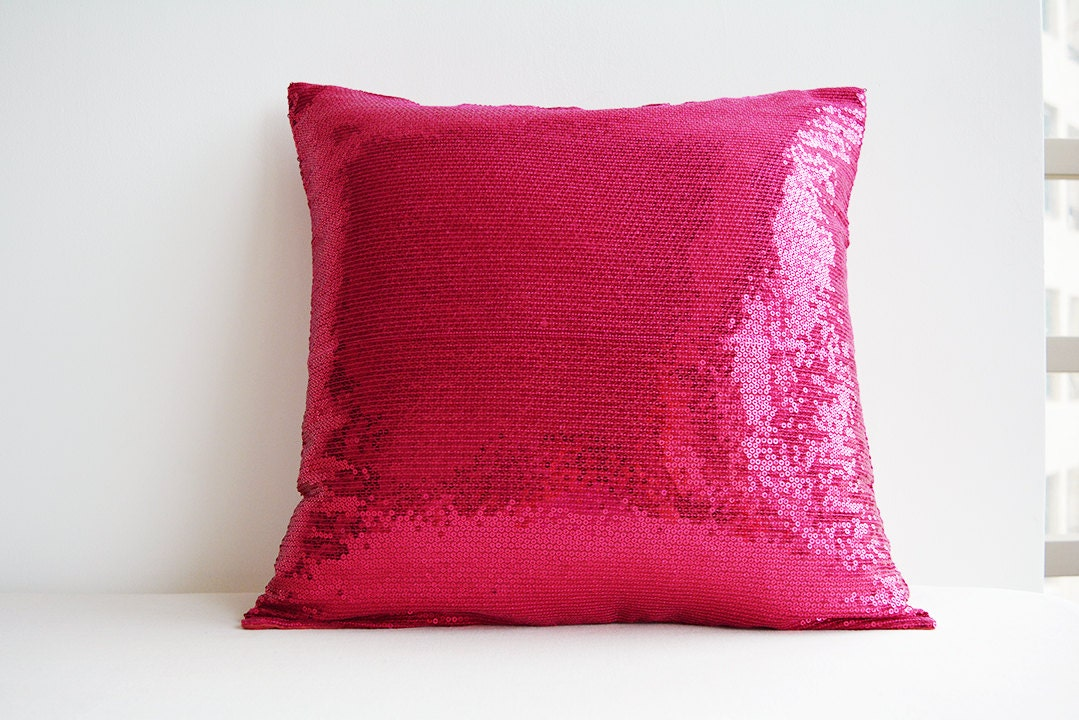 shiny hot pink sequin pillow cover pink holiday decor. Black Bedroom Furniture Sets. Home Design Ideas
