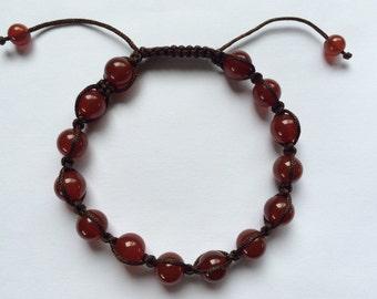 Hand Knotted Carnelian Wrist mala/ bracelet for meditation