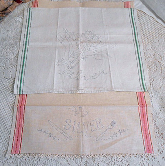 2 STAMPED LINEN Tea TOWELS To Embroider Kitchen Silver