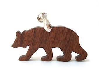 Rustic Bear Totem Necklace Wood Animal Pendant Woodland Hand Cut Scroll Saw Walnut