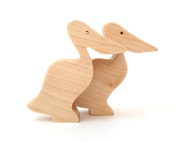 Wood Pelican Toys Waldorf  Miniature Noah's Ark  Animals Wooden Figurines Zoo Ocean Play Set Hand Cut Scroll Saw