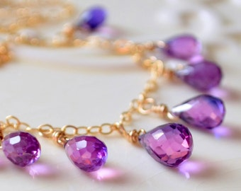 Gemstone Necklace, Purple Pink Lab Kunzite, AAA Teardrops, Orchid Color Beads, Sterling Silver or Gold Jewelry