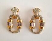 Vintage Rhinestone Door Knocker Earrings