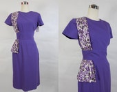 1950's Vintage Purple Wiggle Dress with Floral Sash