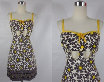1960's Vintage Yellow and Black Mod Daisy Cut Out Mini Dress with Removable Bra