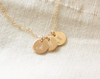 Gold Initial Necklace, Personalized Necklace, Three Initial Charms, Initial Discs, Mother's Necklace, Gold Filled, Hand Stamped, Dainty