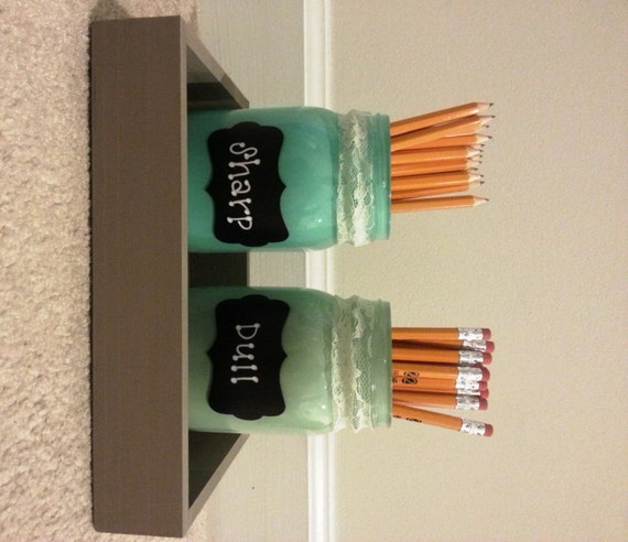 Mason Jar Pencil Holders Green by ArtsByLisaMichele on Etsy