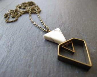 White Howlite Geometric Necklace // Geometric Jewelry // Chevron // Geometric diamond Jewelry // Boyfriend Girlfriend // mixed metals