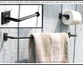 DISCOUNT 2 Piece Hand Forged Iron Modern Industrial Style Bath Accessory Set (Your Choice of Styles on TP Holder) by VinTin (Item # D-1104)