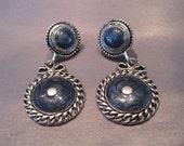 Vintage Silver Tone Blue Glass Dangling Earrings