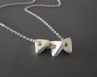 Triple Silver Triangle Necklace