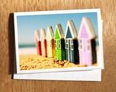 New Home Card, Beach Huts Home Card, Home Is Where The Heart Is Card, Card for New Home, New Beach Home Card, New Home, Coloured Beach Huts