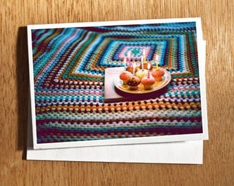 "CARD ""Candles and Crochet"" Original 6"" x 4"" FILM Photo on Nice Thick Card Stock. Birthday, Card, Candles, Book, Vintage, Crochet Blanket"