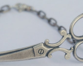 Steampunk  Scissor Bracelet Sterling Silver Ox Plated Seamstress Hairdresser Gift