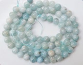 10mm  Natural aquamarine round gemstone beads, Gorgeous quality FULL STRAND