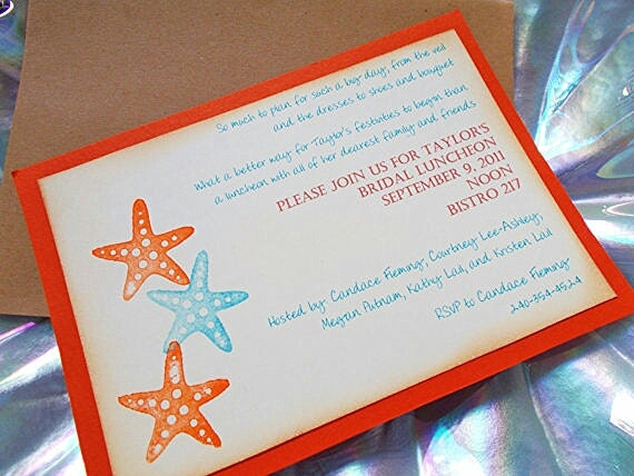 Items Similar To Orange Starfish Beach Themed Bridal Shower Invitation Wedding Invitations