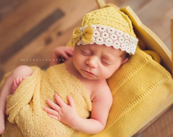 Leighton Heritage Newborn Stretch Wrap IN STOCK RTS Natural Organic Knit Swaddle Photography Prop Rustic Yellow Premium Cloth Posing Layer