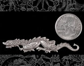 One Silver Plated Brass Long Dragon Pendant Wrap or Bracelet S-P70
