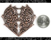 One Copper Plated Brass Floral Filigree Victorian Heart Pendant XXX C-P02