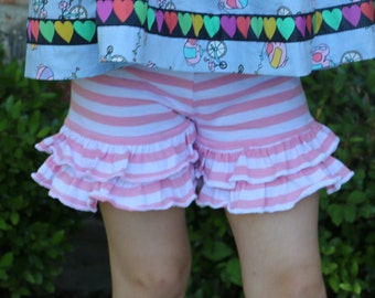 pink and white stripe knit double ruffle shorts shorties sizes 12m - 14 girls