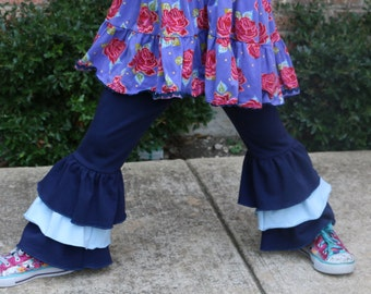 Navy blue triple ruffle pants with navy and light blue ruffles sizes 12m - 14 girls