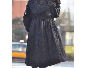 Lovely Babydoll Long Winter Coat/ Hoddie in BLACK/ 8 Colors/ RAMIES