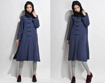 Linen Long Winter Coat With Handmade Buttons/ Cotton Padded Coat/ 8  Colors/ RAMIES