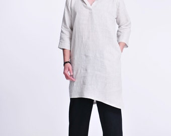 Hoodie and Tunic in One/ Asymmetrical Men's Hoodie Linen Tunic with 3/4 Sleevs /RAMIES
