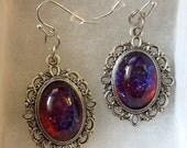 Fire Opal // Dragons Breath// Nebula Earrings // Wiccan Earrings // Dragons Breath Earrings