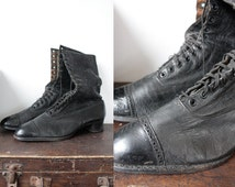 Victorian Antique Black Leather Ankle Boots Women's Size UK 5 1/2