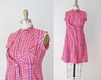 1970s Block Print Mini Dress / 70s Indian Cotton Dress