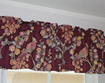 """Valance Curtain Iman Home Magic Garden Burgundy Fully Lined 50"""" by 17"""""""