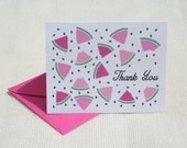 Illustrated Pink  Watermelon Slices Pattern Thank You Card Stationery Set  - 8 Cards and Envelopes