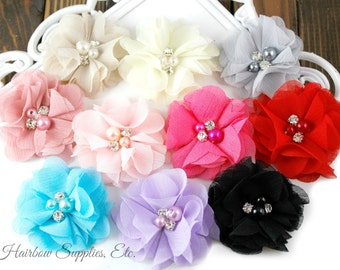 Chiffon Scalloped Flowers 2 inch with Diamonds and Pearls - Fabric Flowers, Chiffon Flower Headband, Chiffon Flowers, DIY Headbands