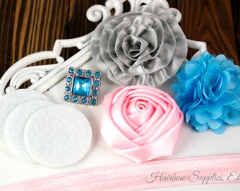 Headband Kit - The ADELAIDE - Light Pink, Turquoise, and Gray Headband - Hairbow Supplies, Etc.