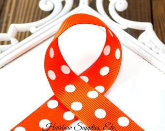 Orange Polka Dots 7/8 inch 1 to 10  yards Polka Dot Grosgrain Ribbon - Hairbow Supplies, Etc.