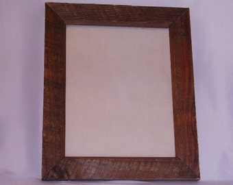 Rustic wood picture frame - glass, backing and wire to hang on wall