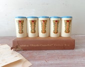 Vintage Sellex Spice Canisters in Cream and Blue � Set of 5 - thefoxandthespoon