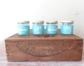 VIntage Glass Spice Jars with Pastel Blue and White Labels - palm trees