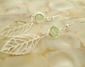 Light Silver Green Earrings, Mint Green Leaf Earrings