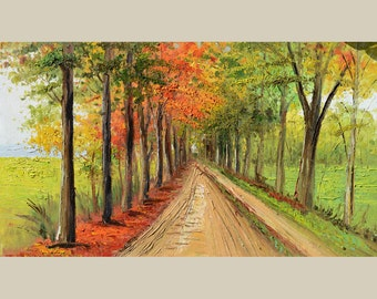 Original Oil painting on canvas impasto Palette Knife Landscape painting Trees Fall Gold Yellow Park Colorful Textured Road Orange Marchella