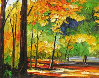 ORIGINAL Painting oil on canvas impasto Autumn Kiss Palette Knife Colorful Landscape Park Trees Red Alley Orange Green Fall Couple Marchella