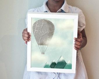 Adventure Awaits! print with newsprint hot air balloon