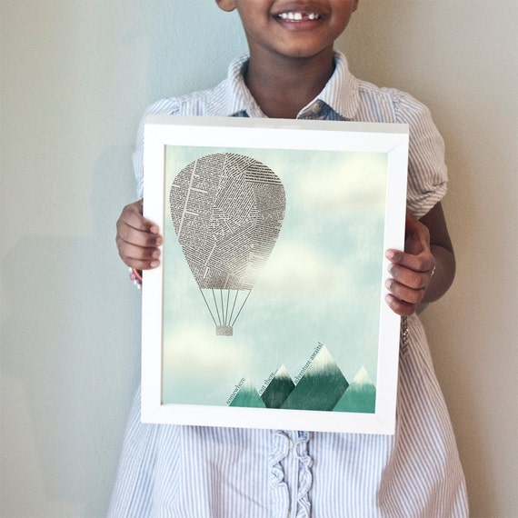 Adventure Awaits! print with newsprint hot air balloon