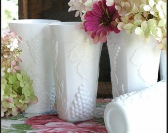 Vintage Milk Glass Tumblers by Indiana Glass / My Vintage Milk Glass Wedding/ Milk Glass Centerpiece