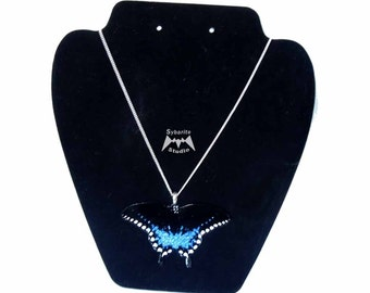 Elegant Blue Butterfly Large Pendant
